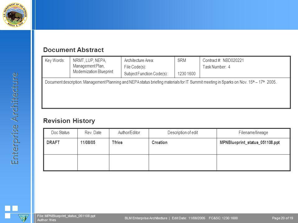 Page 20 of 19 File: MPNBlueprint_status_051108.ppt Author: fries BLM Enterprise Architecture | Edit Date: 11/08/2005 FC&SC: 1230 1600 Doc StatusRev.