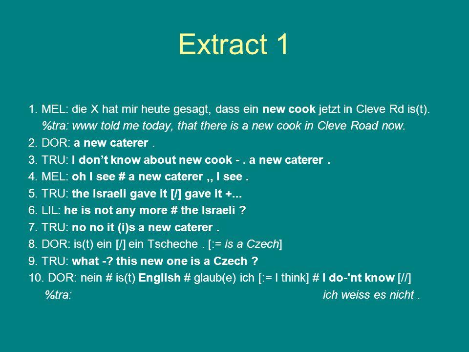 Extract 1 1. MEL: die X hat mir heute gesagt, dass ein new cook jetzt in Cleve Rd is(t).