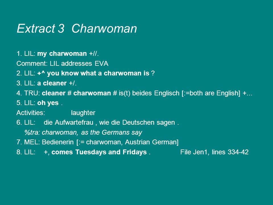 Extract 3Charwoman 1. LIL: my charwoman +//. Comment: LIL addresses EVA 2.