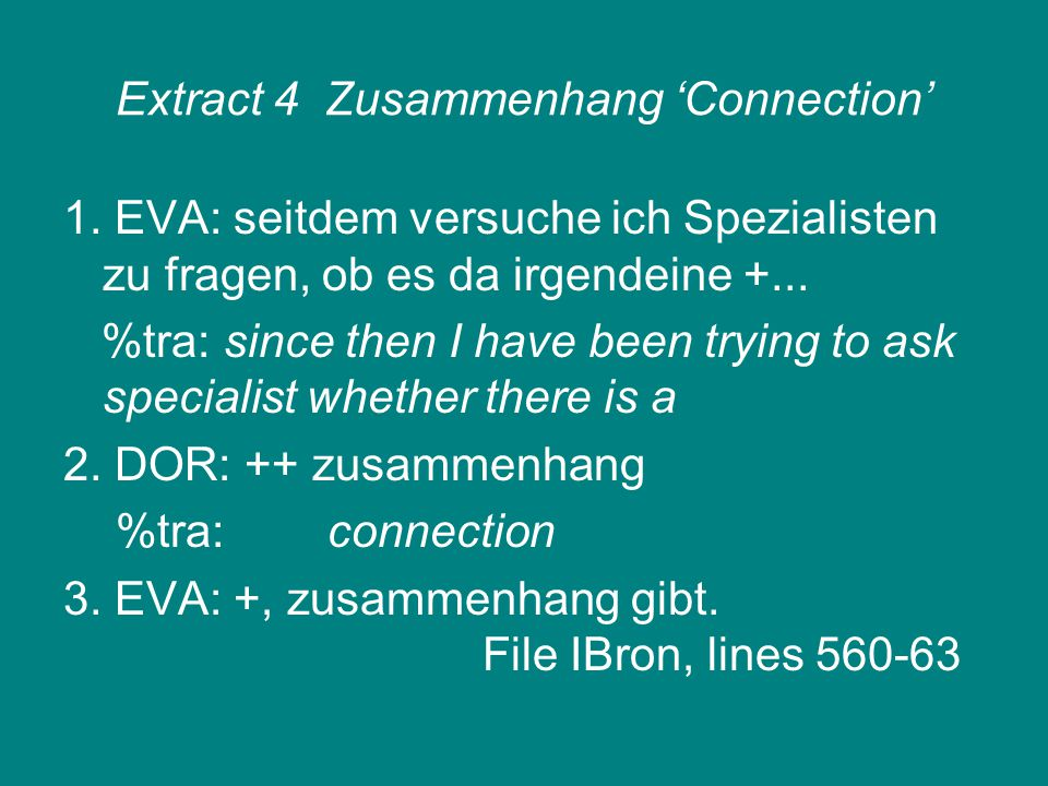 Extract 4Zusammenhang 'Connection' 1.