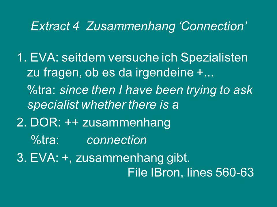 Extract 4Zusammenhang 'Connection' 1. EVA: seitdem versuche ich Spezialisten zu fragen, ob es da irgendeine +... %tra: since then I have been trying t