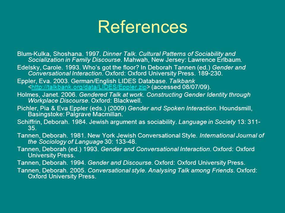 References Blum-Kulka, Shoshana. 1997. Dinner Talk.