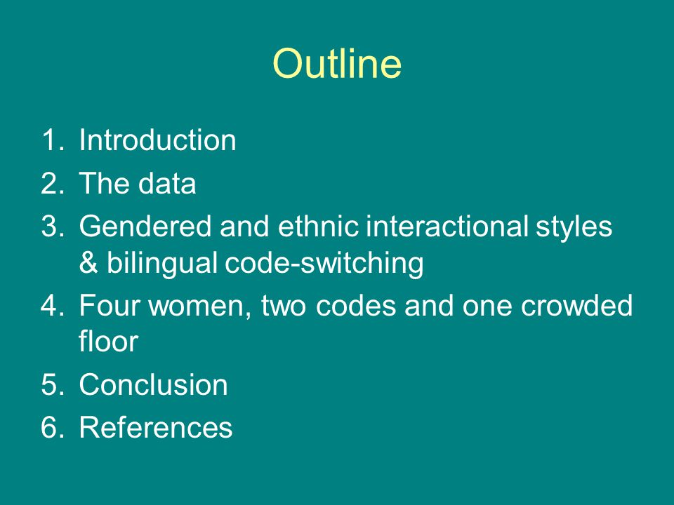 Conclusions Bilingual code-switching bilingual code-switching can become just another building block in the construction of an egalitarian collaborative floor because overlapping utterances are not in direct competition with the main turn the joint construction of bilingual utterances and sequences requires speakers to pay even closer attention to each other at all linguistics levels than the monolingual production of a collaborative floor