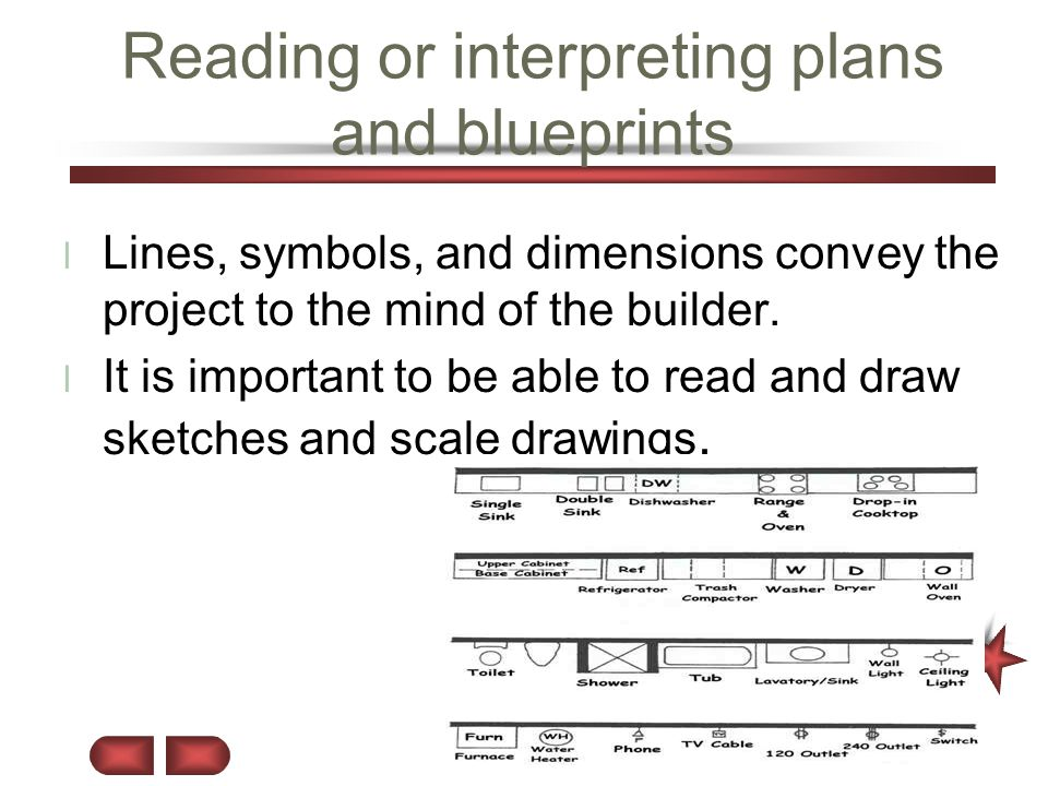 Reading or interpreting plans and blueprints l Lines, symbols, and dimensions convey the project to the mind of the builder. l It is important to be a