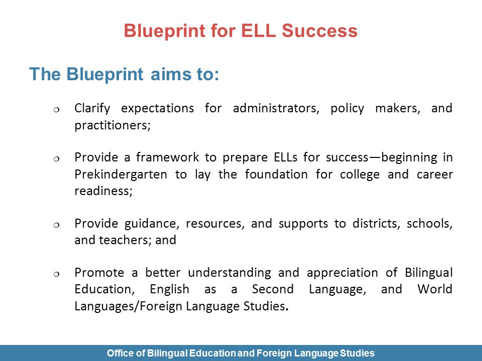 Blueprint for ell success office of bilingual education and 10 blueprint malvernweather Choice Image