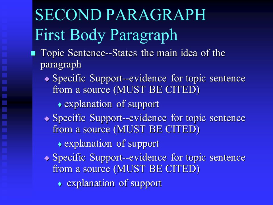 SECOND PARAGRAPH First Body Paragraph Topic Sentence--States the main idea of the paragraph Topic Sentence--States the main idea of the paragraph  Sp