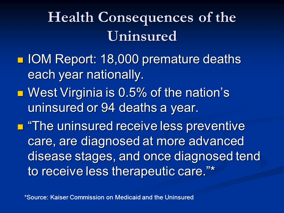 Health Consequences of the Uninsured IOM Report: 18,000 premature deaths each year nationally. IOM Report: 18,000 premature deaths each year nationall