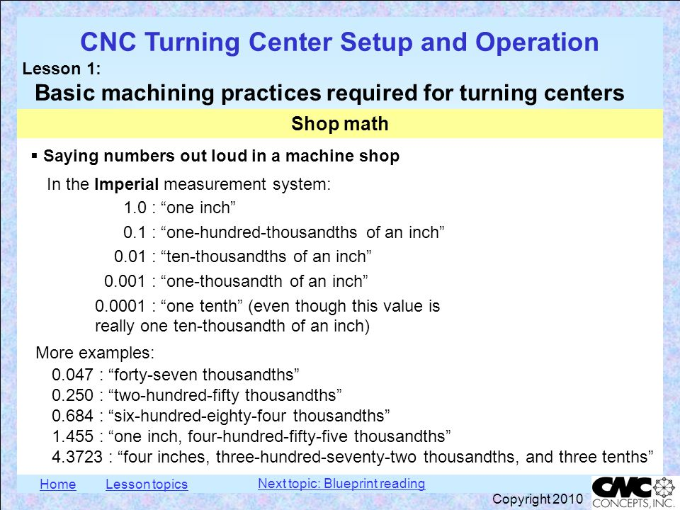 HomeLesson topics CNC Turning Center Setup and Operation Lesson 1: Basic machining practices required for turning centers Copyright 2010  Saying numb