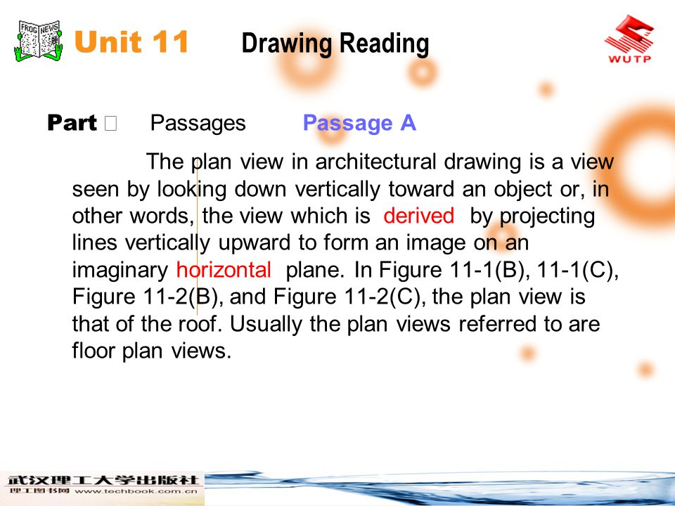 Unit 11 Drawing Reading Part Ⅱ Passages Passage A The plan view in architectural drawing is a view seen by looking down vertically toward an object or