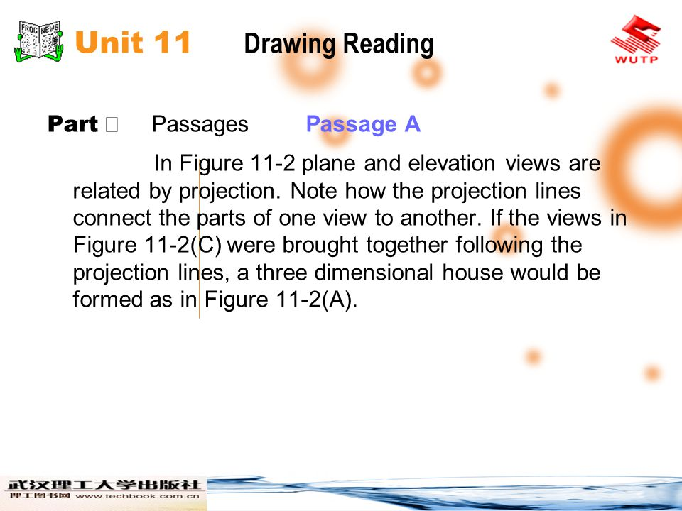Unit 11 Drawing Reading Part Ⅱ Passages Passage A In Figure 11-2 plane and elevation views are related by projection. Note how the projection lines co