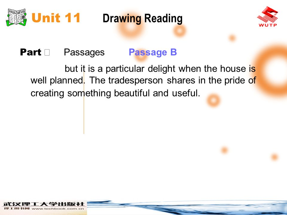 Unit 11 Drawing Reading Part Ⅱ Passages Passage B but it is a particular delight when the house is well planned. The tradesperson shares in the pride
