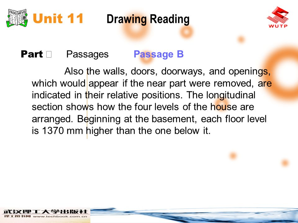 Unit 11 Drawing Reading Part Ⅱ Passages Passage B Also the walls, doors, doorways, and openings, which would appear if the near part were removed, are