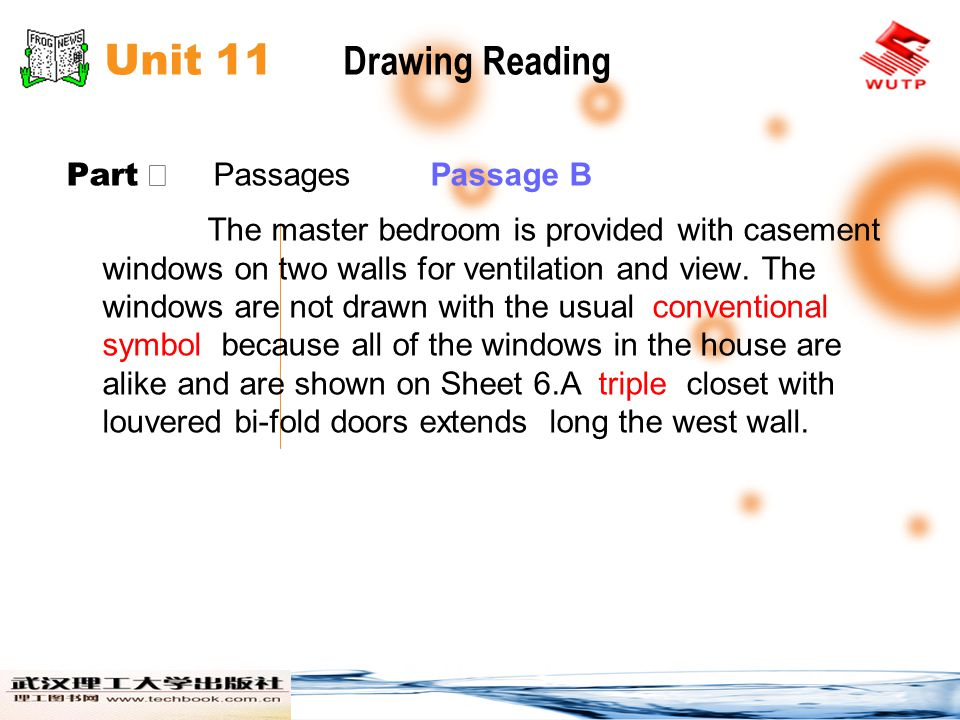 Unit 11 Drawing Reading Part Ⅱ Passages Passage B The master bedroom is provided with casement windows on two walls for ventilation and view. The wind