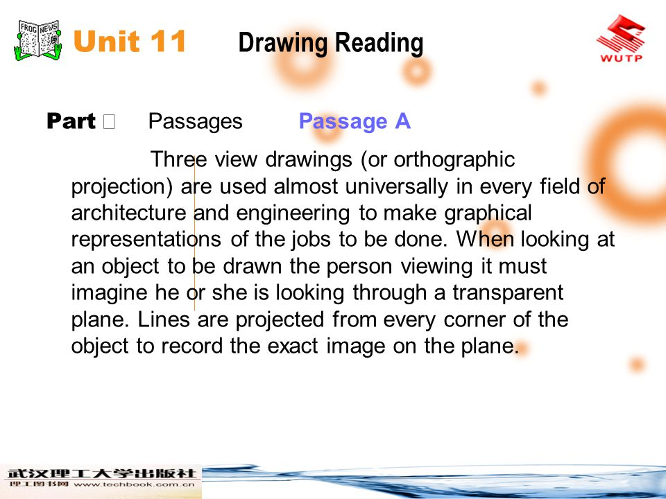 Unit 11 Drawing Reading Part Ⅱ Passages Passage A Three view drawings (or orthographic projection) are used almost universally in every field of archi
