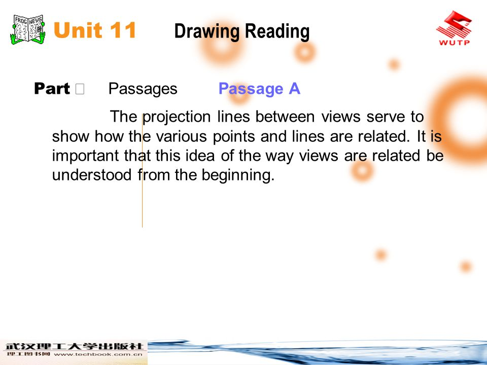 Unit 11 Drawing Reading Part Ⅱ Passages Passage B The East and West Elevations, Sheet 3, and the North and South Elevations, Sheet 4, give views of the exterior.
