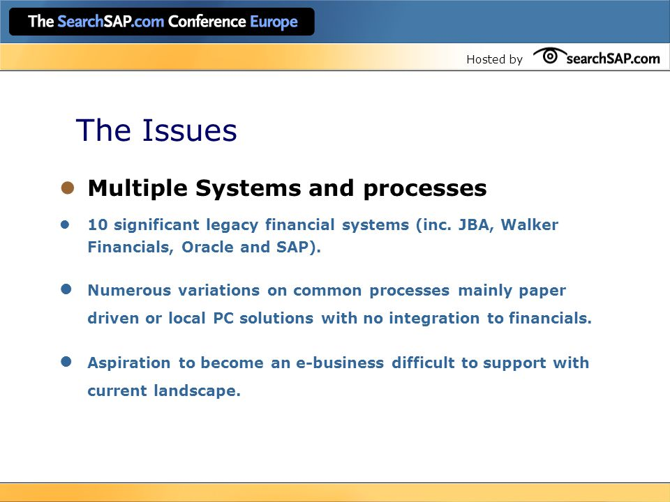 Hosted by The Issues Financial Backdrop Underlying profitability was deteriorating.
