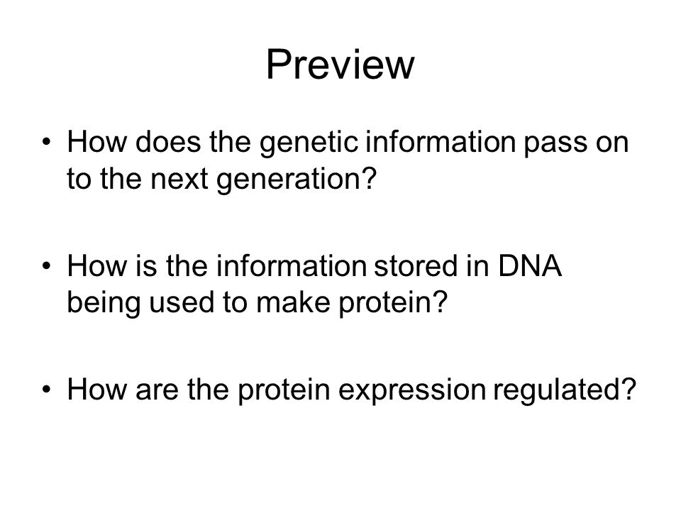 Operon structure Promoter – Binding site for RNA polymerase Operator – binding site for the repressor protein for the regulation of gene expression Structural Genes – DNA sequence for specific proteins Operator Gene 1Gene 3Gene 2 Promoter