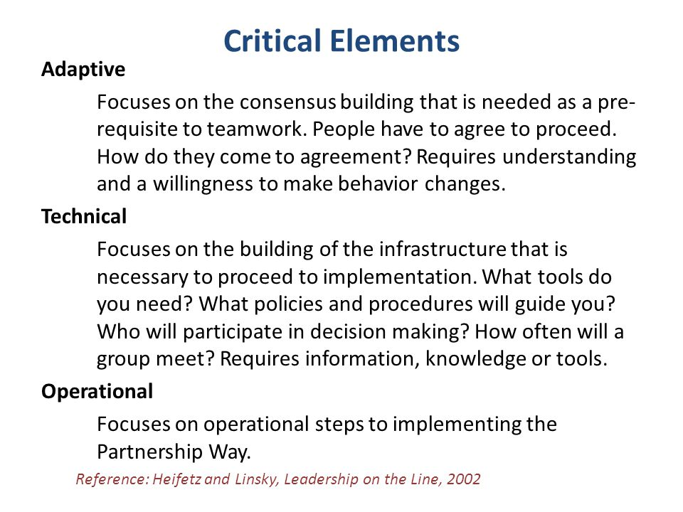 Critical Elements Adaptive Focuses on the consensus building that is needed as a pre- requisite to teamwork.