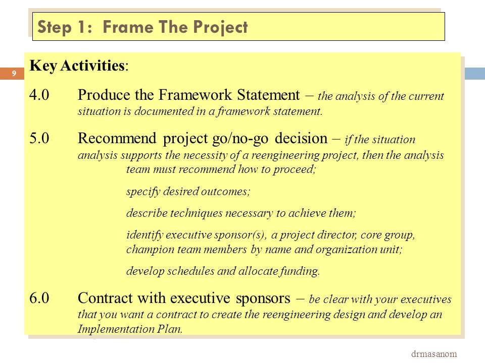Step 3: Redesign the Business Operation drmasanom 20 Key Activities: 1.0Prepare for the Blueprint sessions.