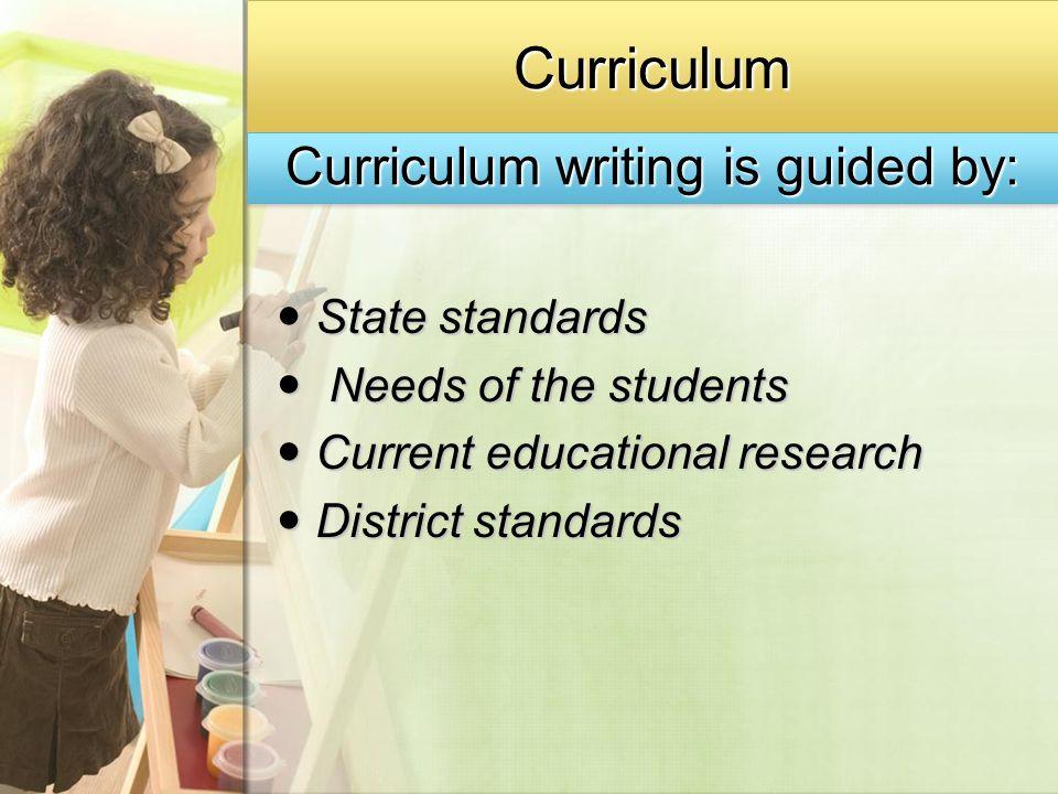 CurriculumCurriculum State standards State standards Needs of the students Needs of the students Current educational research Current educational rese