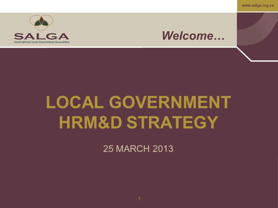 www.salga.org.za Proposals For Key Focus Areas: Organisational Development The development of a common OD framework and process – consideration should be given to adapting the public sector wide framework and approach in this regard; The establishment of a learning network to facilitate the sharing of information on best practices and lessons learnt with regards to OD; Establishment of a panel of experts who can advise and/or provide direct support to Councillors, Management and staff with regards to OD; and Provision of training and development opportunities to address inherent capacity gaps.