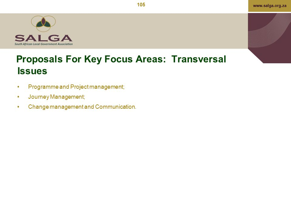 www.salga.org.za Proposals For Key Focus Areas: Transversal Issues Programme and Project management; Journey Management; Change management and Communi