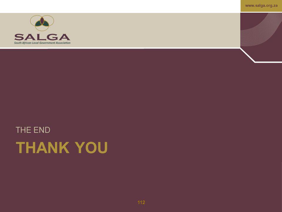 www.salga.org.za THANK YOU THE END 112