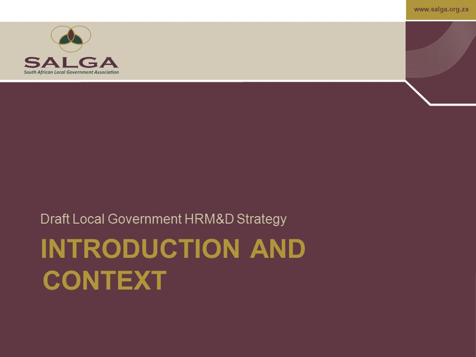 www.salga.org.za The Proposed Model…cont Performance Management –Confirmation of process and standards; –Setting performance standards; –Measuring and evaluating performance; –Gap analysis; –Developing performance management skills training to line management; –Communication and co-ordination of the performance management process; and –Making the link to remuneration.