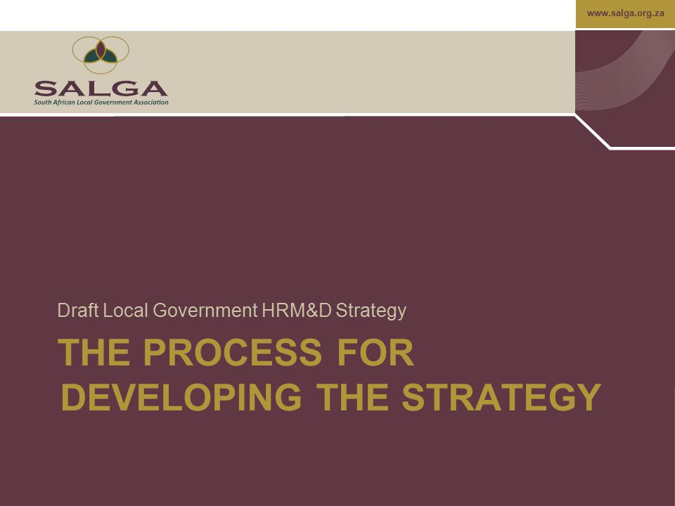www.salga.org.za Core Element: HRM&D Strategy TransactionalFundamentalInstitutionalDevelopmental  No HRM&D strategy in place  No process in place for the formulation of an HRM&D strategy  HRM&D strategy developed in compliance with legislative/ regulatory requirements  Focus of strategy is to comply with minimum stakeholder requirements  HRM&D professionals work on the HRM&D strategy which comprises a clear agenda for the HRM&D function with some input from line managers  Strategic HRM&D performance indicators are defined and implemented  HRM&D scenario planning based on internal strategy and external developments e.g.