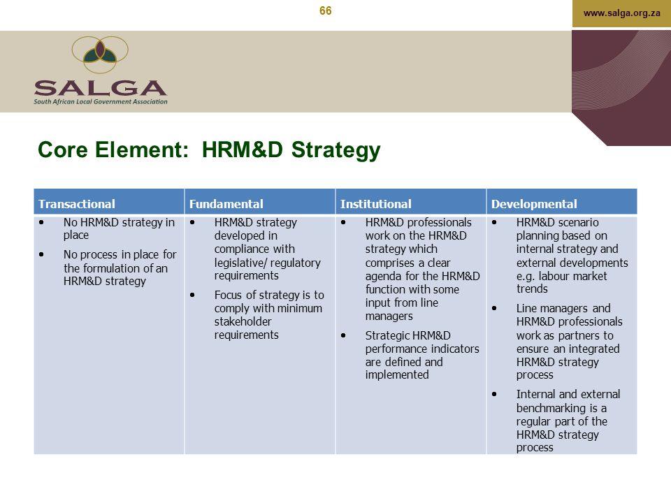 www.salga.org.za Core Element: HRM&D Strategy TransactionalFundamentalInstitutionalDevelopmental  No HRM&D strategy in place  No process in place fo