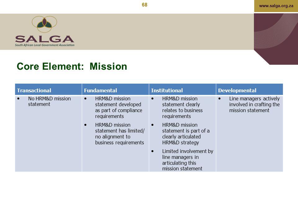 www.salga.org.za Core Element: Mission TransactionalFundamentalInstitutionalDevelopmental  No HRM&D mission statement  HRM&D mission statement devel