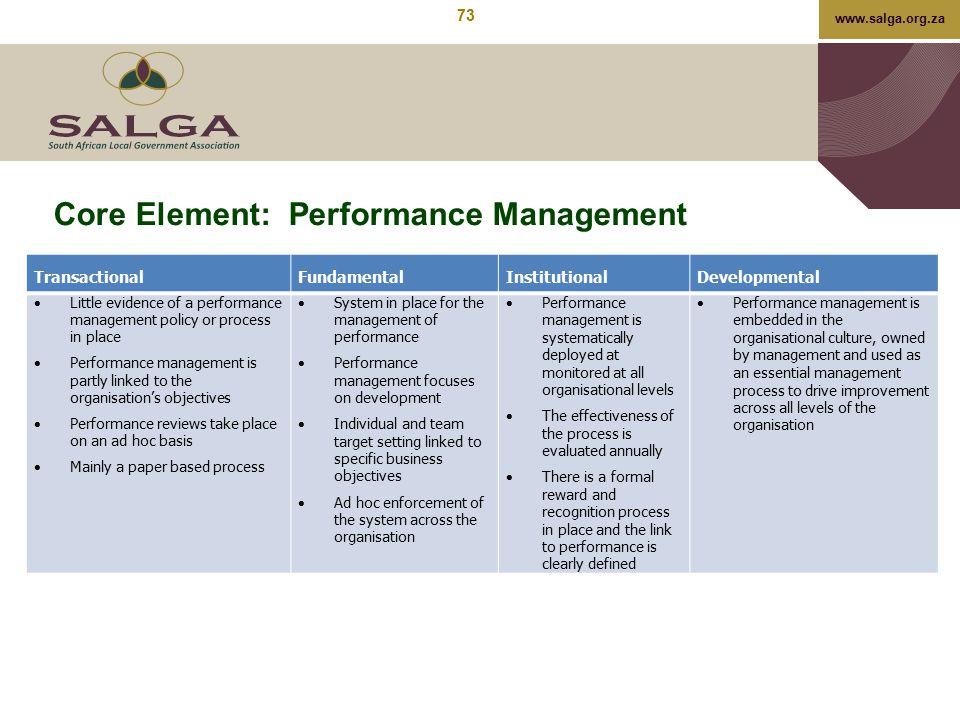 www.salga.org.za Core Element: Performance Management TransactionalFundamentalInstitutionalDevelopmental  Little evidence of a performance management