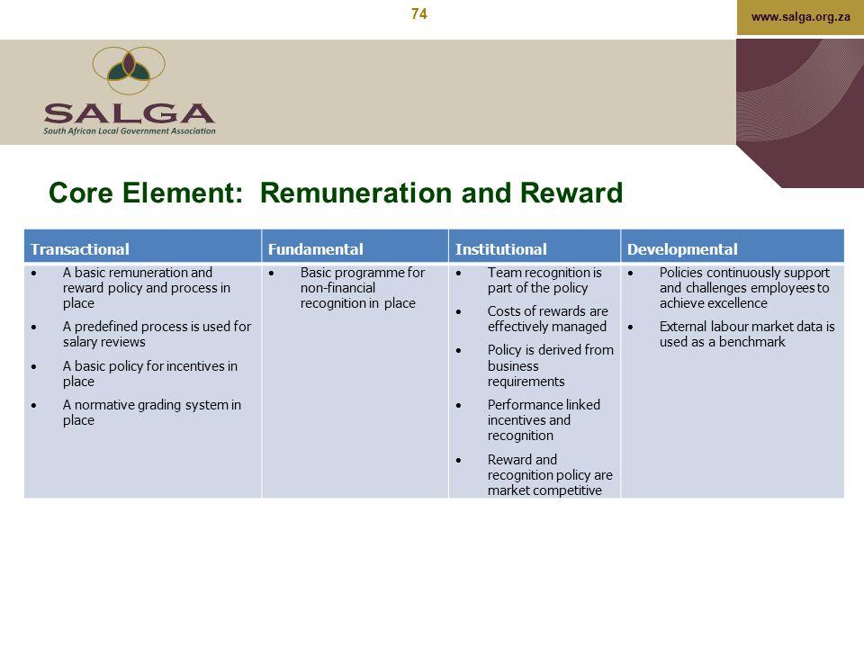 www.salga.org.za Core Element: Remuneration and Reward TransactionalFundamentalInstitutionalDevelopmental  A basic remuneration and reward policy and