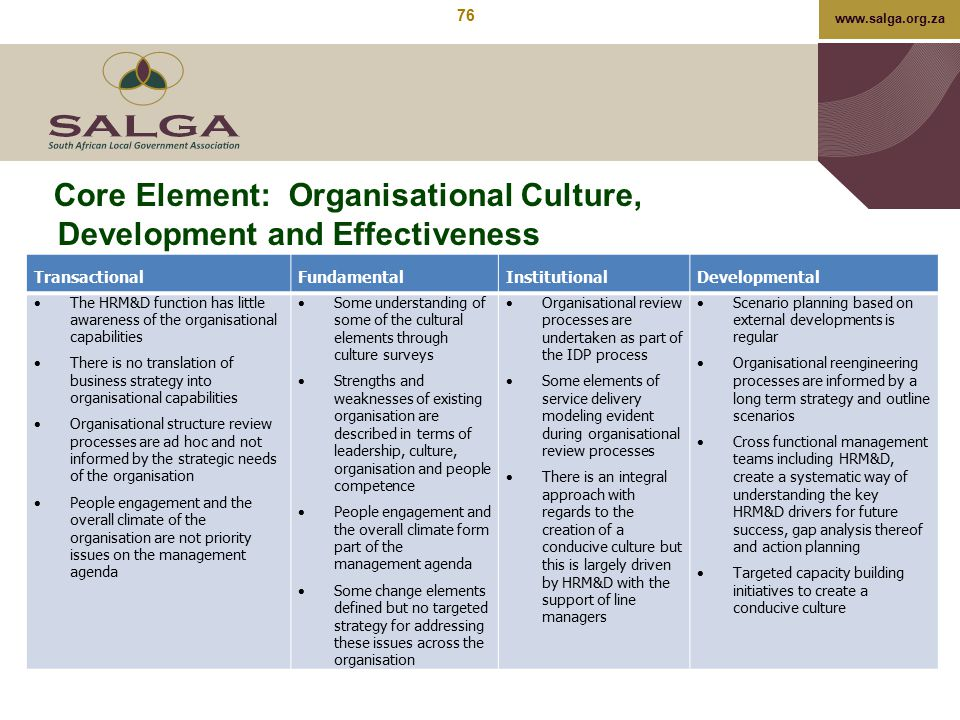 www.salga.org.za Core Element: Organisational Culture, Development and Effectiveness TransactionalFundamentalInstitutionalDevelopmental  The HRM&D fu
