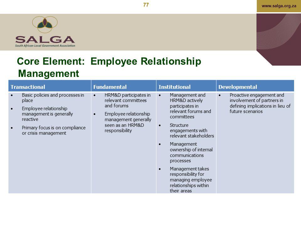 www.salga.org.za Core Element: Employee Relationship Management TransactionalFundamentalInstitutionalDevelopmental  Basic policies and processes in p