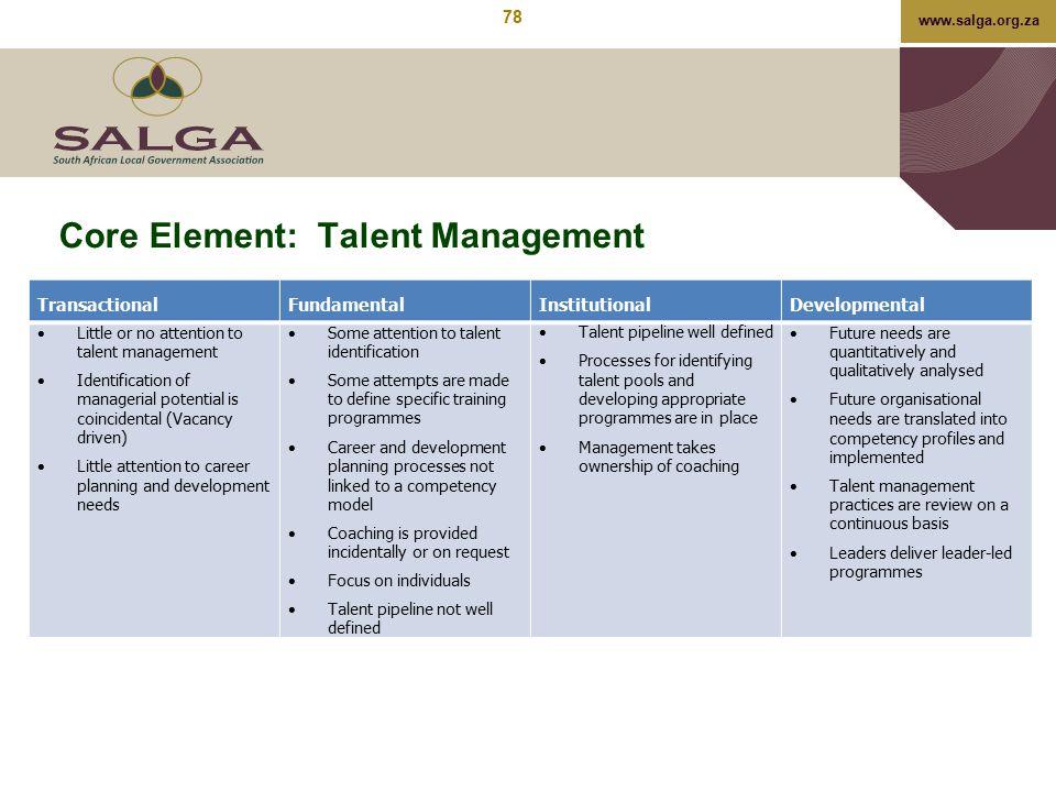 www.salga.org.za Core Element: Talent Management TransactionalFundamentalInstitutionalDevelopmental  Little or no attention to talent management  Id
