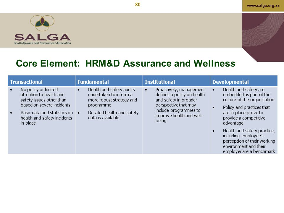 www.salga.org.za Core Element: HRM&D Assurance and Wellness TransactionalFundamentalInstitutionalDevelopmental  No policy or limited attention to hea