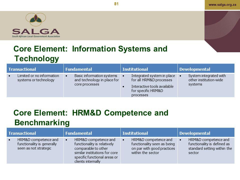 www.salga.org.za Core Element: Information Systems and Technology TransactionalFundamentalInstitutionalDevelopmental  Limited or no information syste