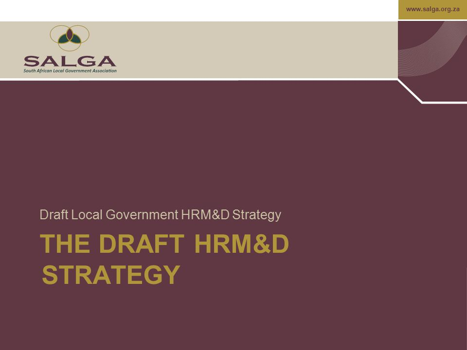 www.salga.org.za THE DRAFT HRM&D STRATEGY Draft Local Government HRM&D Strategy