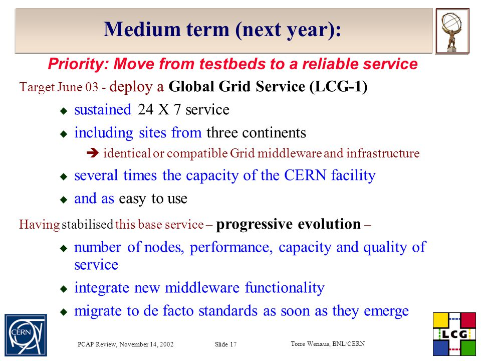 Torre Wenaus, BNL/CERN PCAP Review, November 14, 2002 Slide 17 Medium term (next year): Target June 03 - deploy a Global Grid Service (LCG-1)  sustained 24 X 7 service  including sites from three continents  identical or compatible Grid middleware and infrastructure  several times the capacity of the CERN facility  and as easy to use Having stabilised this base service – progressive evolution –  number of nodes, performance, capacity and quality of service  integrate new middleware functionality  migrate to de facto standards as soon as they emerge Priority: Move from testbeds to a reliable service