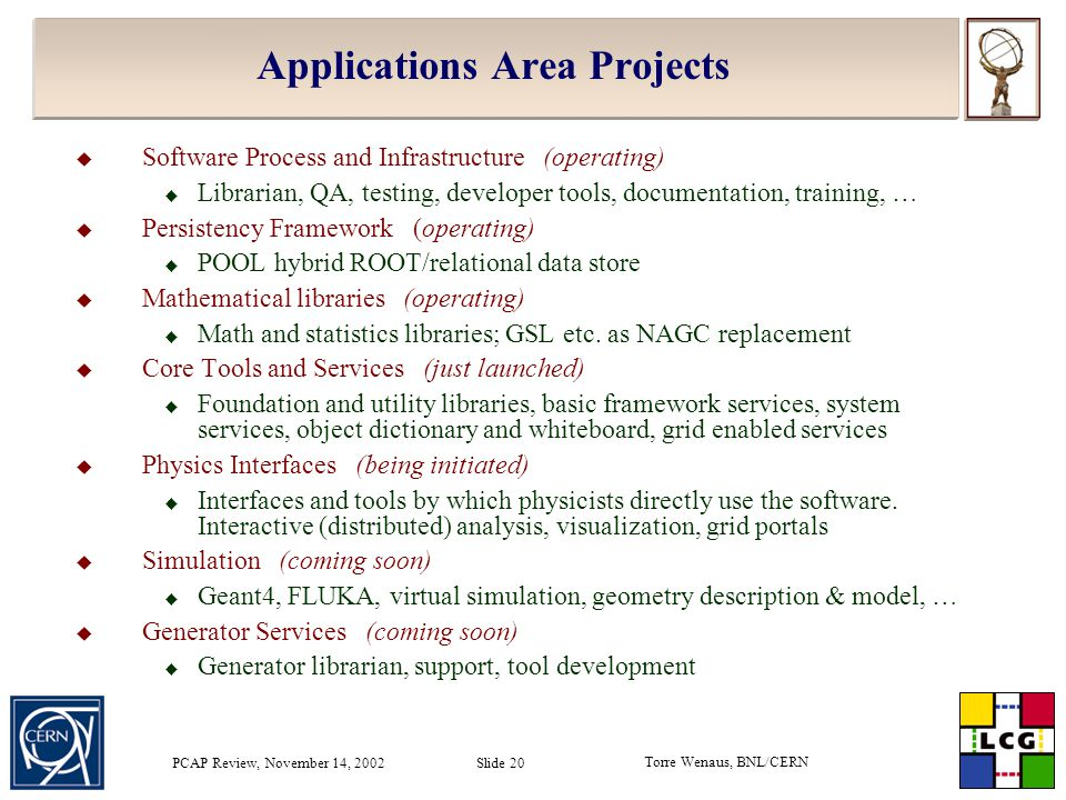 Torre Wenaus, BNL/CERN PCAP Review, November 14, 2002 Slide 20 Applications Area Projects  Software Process and Infrastructure (operating)  Libraria