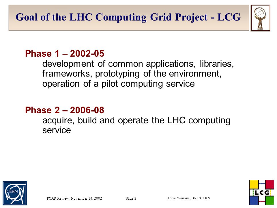 Torre Wenaus, BNL/CERN PCAP Review, November 14, 2002 Slide 24 Personnel status  15 new LCG hires in place and working; a few more soon  Manpower ramp is on schedule  Contributions from UK, Spain, Switzerland, Germany, Sweden, Israel, Portugal, US  ~10 FTEs from IT (DB and API groups) also participating  ~7 FTEs from experiments (CERN EP and outside CERN) also participating, primarily in persistency project at present  Important experiment contributions also in the RTAG process