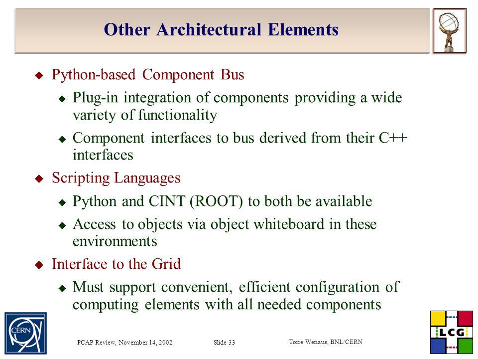 Torre Wenaus, BNL/CERN PCAP Review, November 14, 2002 Slide 33 Other Architectural Elements  Python-based Component Bus  Plug-in integration of comp