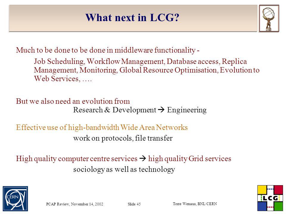 Torre Wenaus, BNL/CERN PCAP Review, November 14, 2002 Slide 45 What next in LCG.