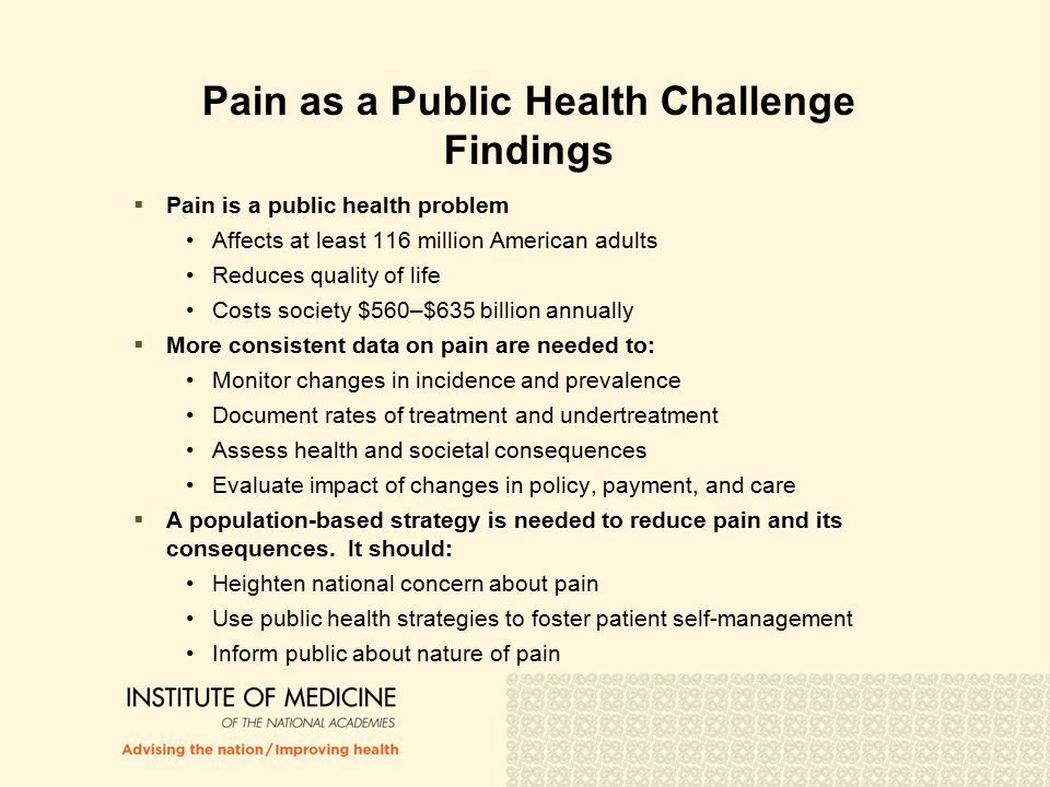 Pain as a Public Health Challenge Findings  Pain is a public health problem Affects at least 116 million American adults Reduces quality of life Costs society $560–$635 billion annually  More consistent data on pain are needed to: Monitor changes in incidence and prevalence Document rates of treatment and undertreatment Assess health and societal consequences Evaluate impact of changes in policy, payment, and care  A population-based strategy is needed to reduce pain and its consequences.