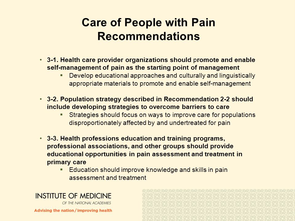 Care of People with Pain Recommendations 3-1.
