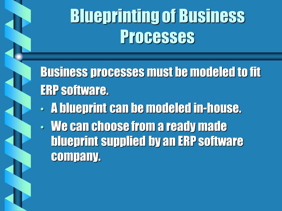 Blueprinting of Business Processes Business processes must be modeled to fit ERP software. A blueprint can be modeled in-house. A blueprint can be mod
