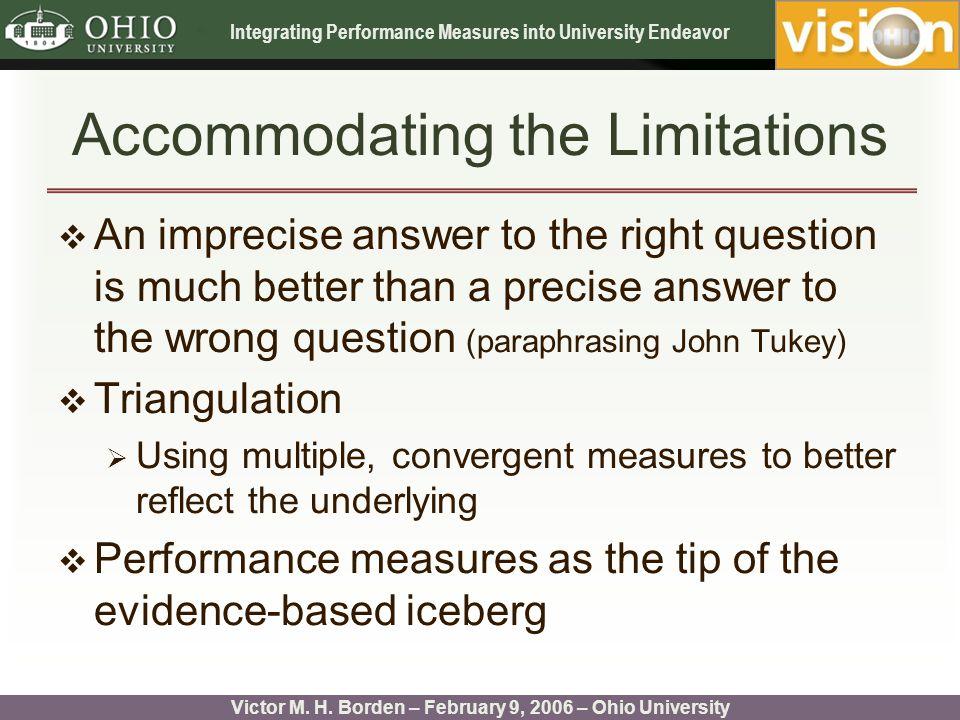 Integrating Performance Measures into University Endeavor Victor M.
