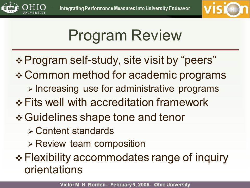 Integrating Performance Measures into University Endeavor Victor M.