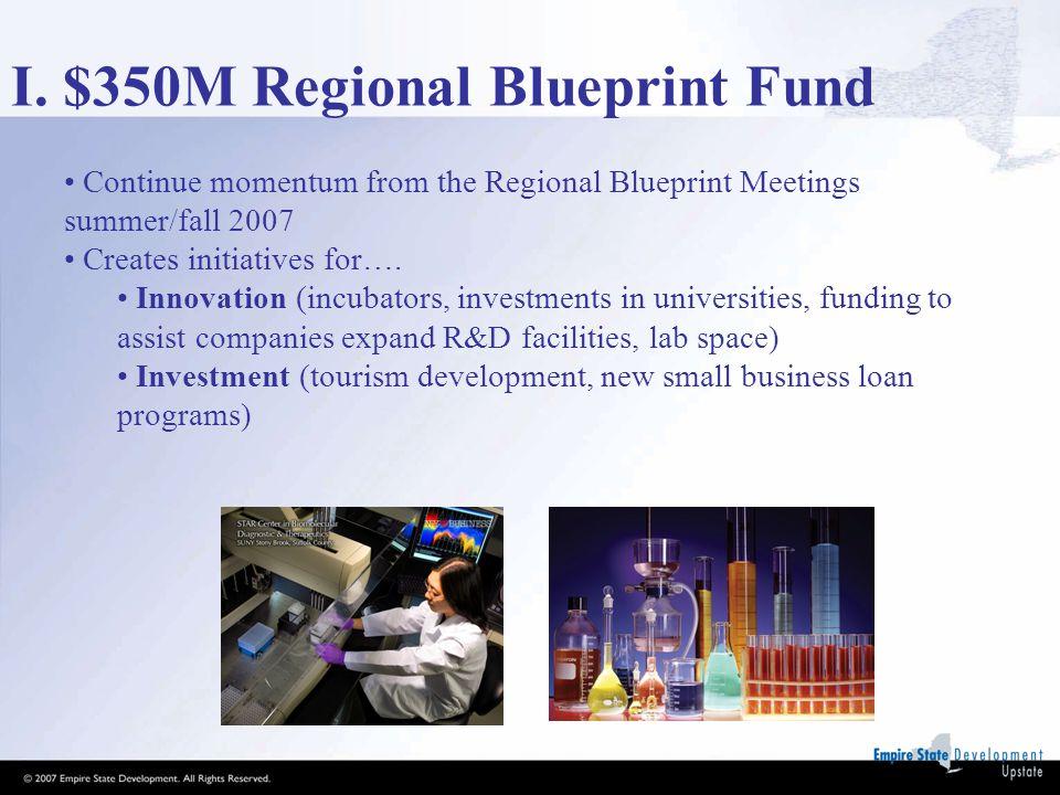 I. $350M Regional Blueprint Fund Continue momentum from the Regional Blueprint Meetings summer/fall 2007 Creates initiatives for…. Innovation (incubat